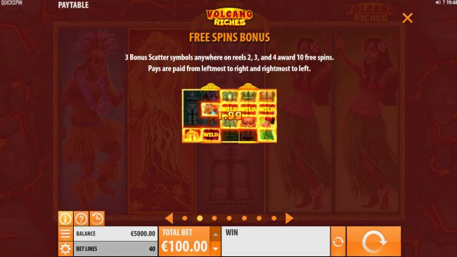 Rizk featuring the Video Slots Volcano Riches with a maximum payout of $150,000