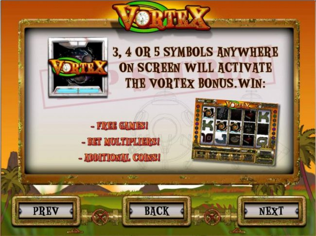 Videoslots featuring the Video Slots Vortex with a maximum payout of $6,250