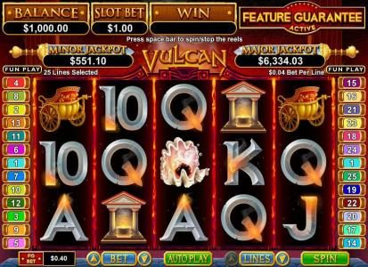 Royal Ace featuring the Video Slots Vulcan with a maximum payout of $750,000