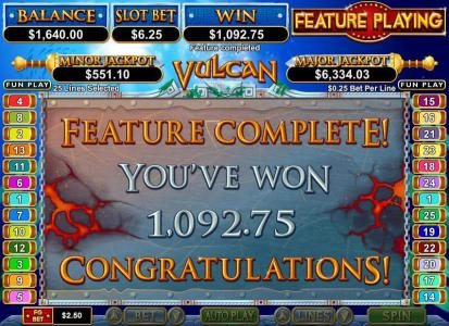 Slotsville featuring the Video Slots Vulcan with a maximum payout of $750,000