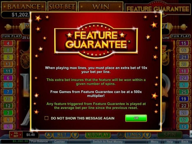 Slots Empire featuring the Video Slots Vulcan with a maximum payout of $750,000