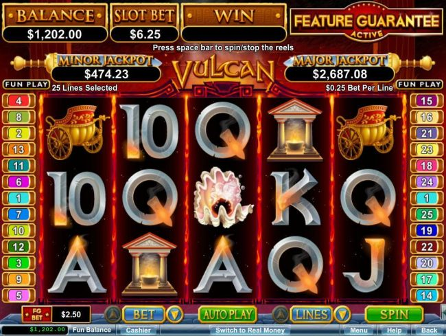 Club Player featuring the Video Slots Vulcan with a maximum payout of $750,000