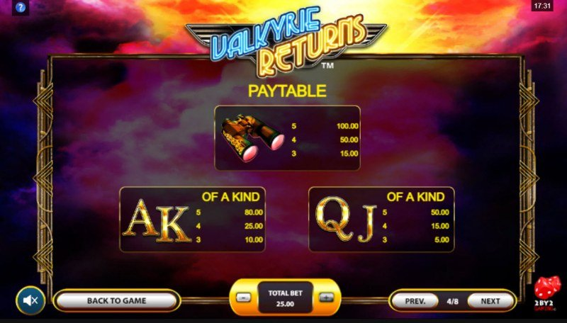 Valkyrie Returns :: Paytable - Low Value Symbols