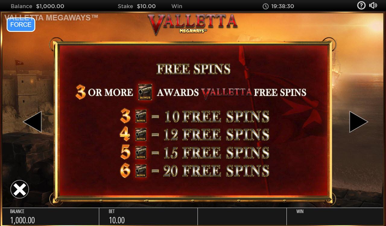 Valletta Megaways :: Free Spins Rules