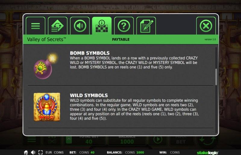 Valley of Secrets :: Wild Symbols Rules