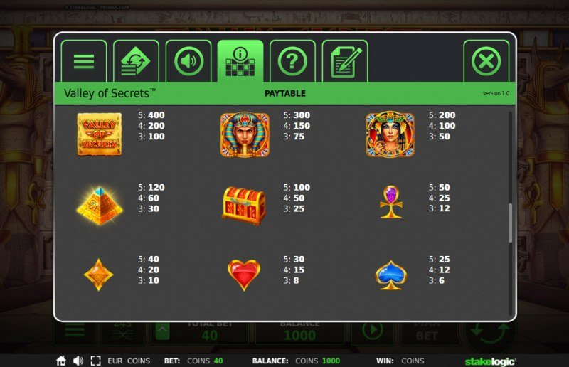 Valley of Secrets :: Paytable - High Value Symbols