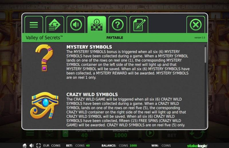 Valley of Secrets :: Special Symbols