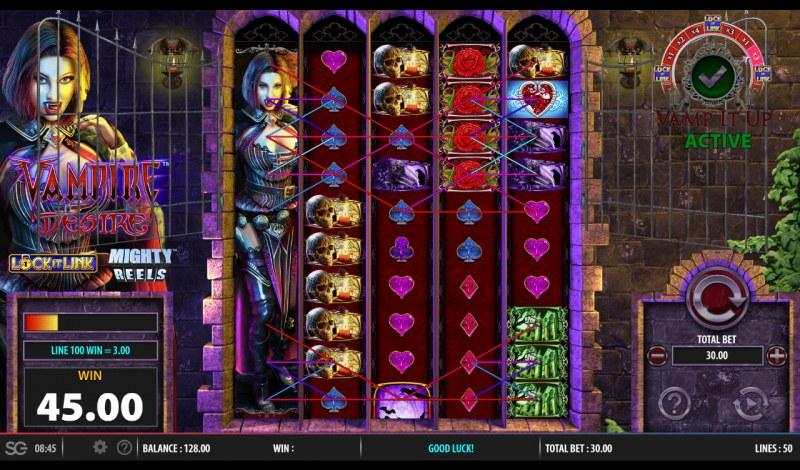Vampire Desire :: Stacked wild symbol triggers multiple winning paylines