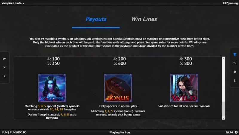 Vampire Hunters :: Paytable - High Value Symbols