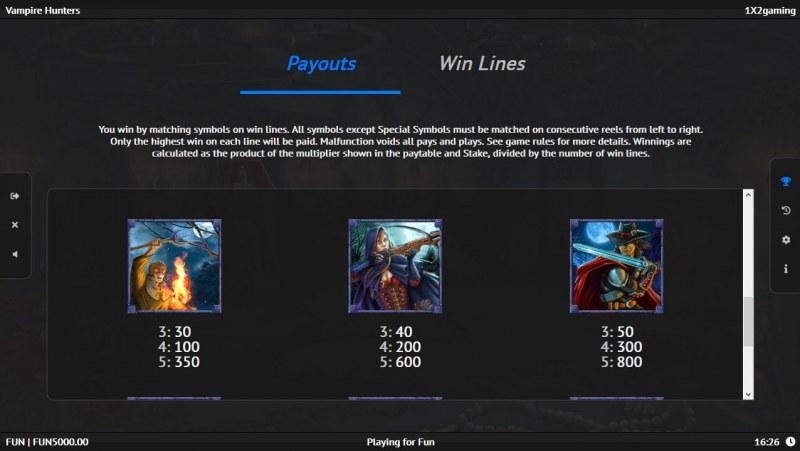 Vampire Hunters :: Paytable - Medium Value Symbols