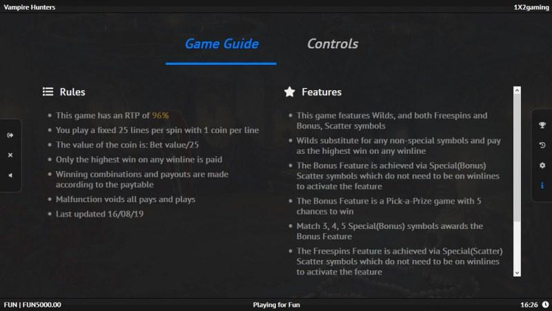 Vampire Hunters :: General Game Rules