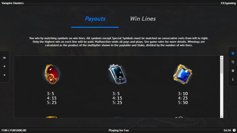 Vampire Hunters :: Paytable - Low Value Symbols