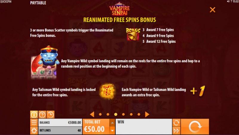 Vampire Senpai :: Free Spins Rules