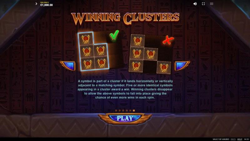Vault of Anubis :: Winning Clusters