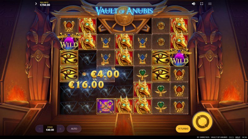 Vault of Anubis :: Winning symbols are removed from the reels and new symbols drop in place