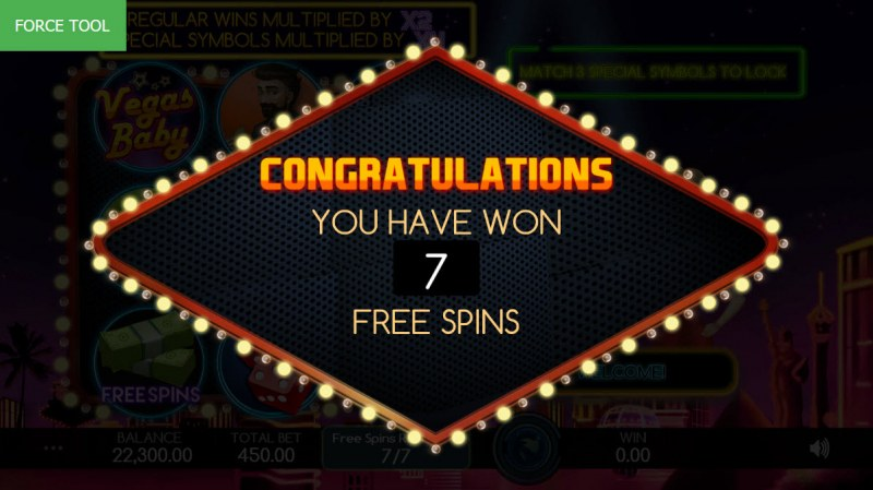 Vegas Baby :: 7 Free Spins Awarded