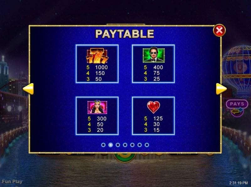 Vegas Lux :: Paytable - High Value Symbols
