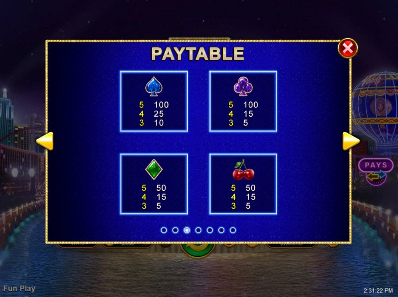 Vegas Lux :: Paytable - Low Value Symbols