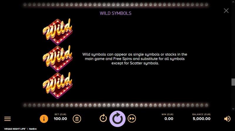 Vegas Night Life :: Wild Symbol Rules