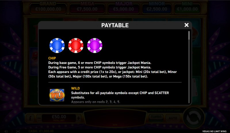 Vegas No Limit Wins :: Scatter Symbol Rules