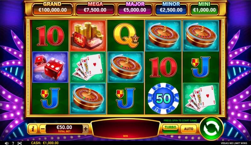 Vegas No Limit Wins :: Base Game Screen