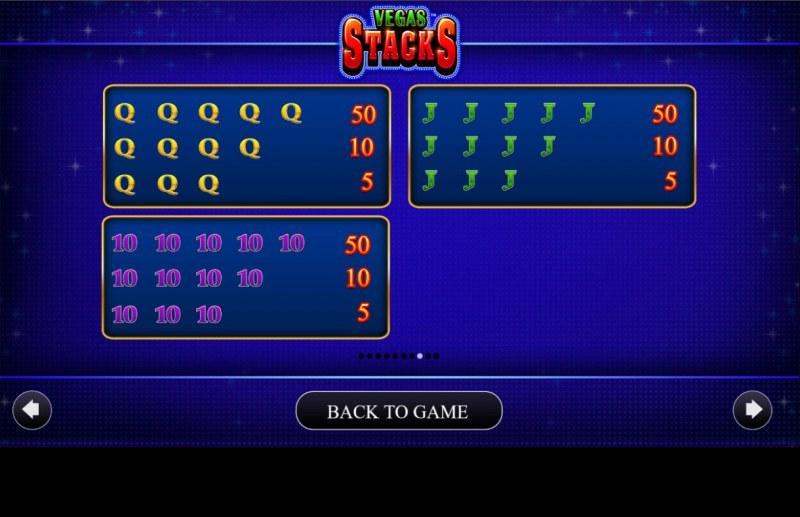 Vegas Stacks :: Paytable - Low Value Symbols