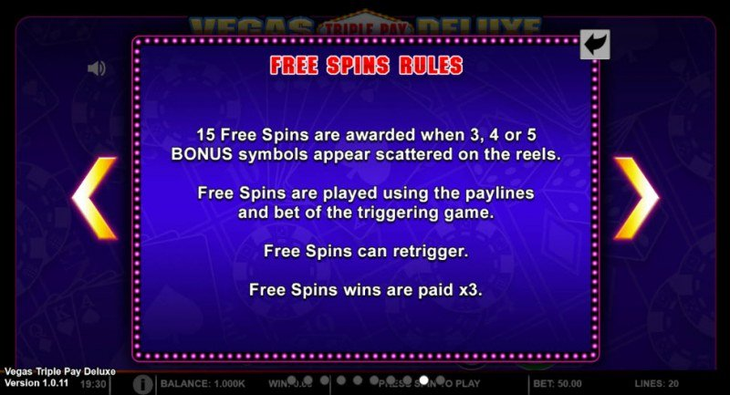 Vegas Triple Pay Deluxe :: Free Spins Rules
