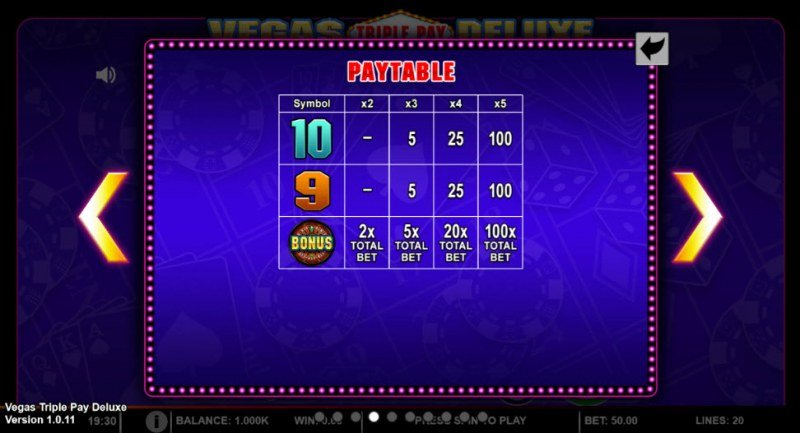 Vegas Triple Pay Deluxe :: Paytable - Low Value Symbols