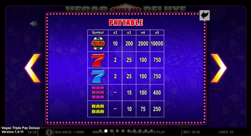 Vegas Triple Pay Deluxe :: Paytable - High Value Symbols