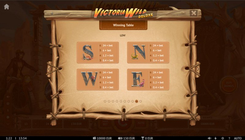 Victoria Wild Deluxe :: Paytable - Low Value Symbols
