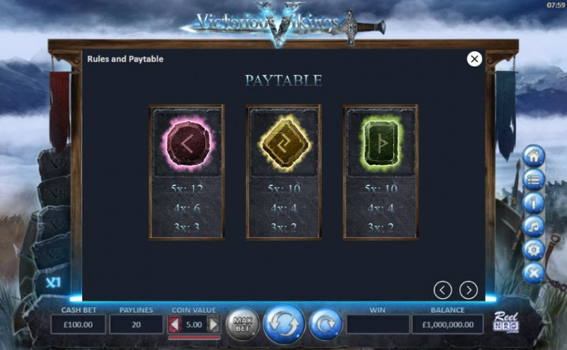Victorious Vikings :: Paytable - Low Value Symbols