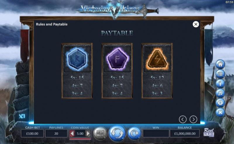 Victorious Vikings :: Paytable - Medium Value Symbols
