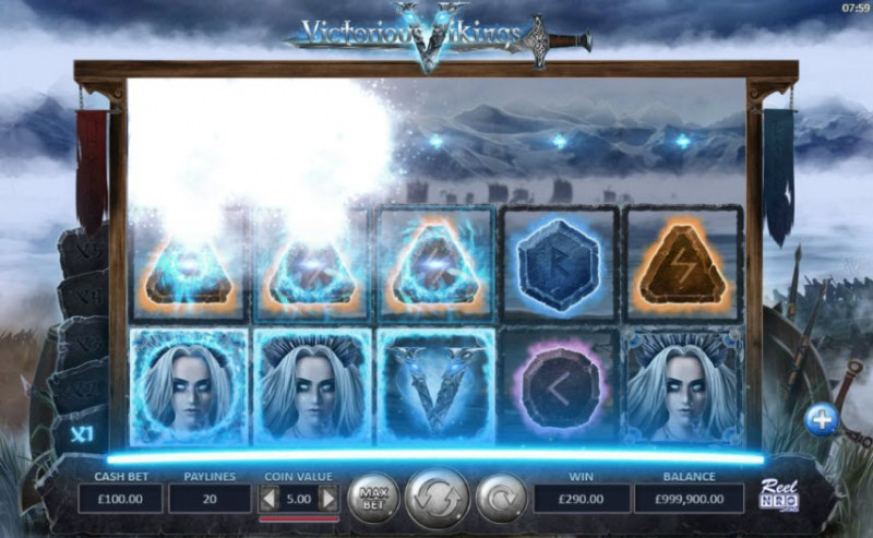 Victorious Vikings :: Winning symbols are removed from the reels and new symbols drop in place