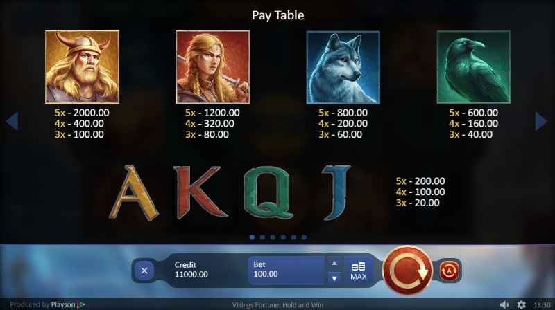Viking Fortune Hold and Win :: Paytable