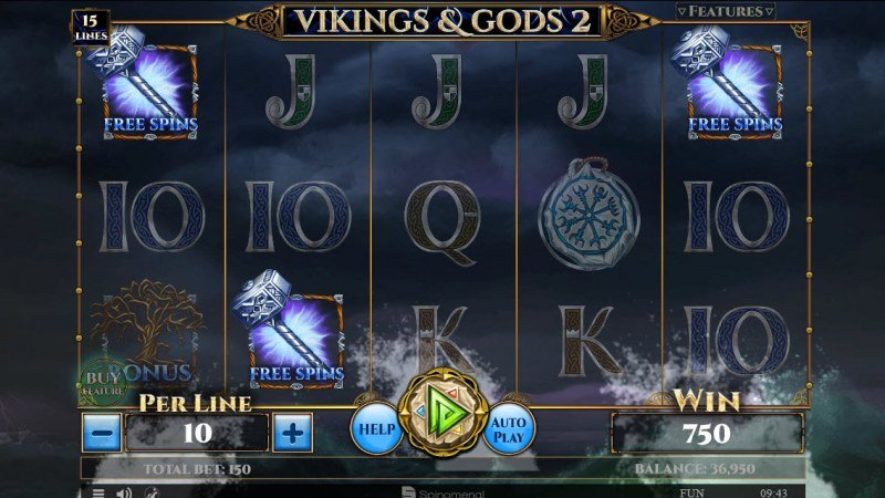 Viking & Gods 2 15 Lines :: Scatter symbols triggers the free spins feature