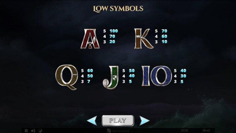 Viking & Gods 2 15 Lines :: Paytable - Low Value Symbols