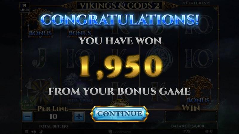 Viking & Gods 2 15 Lines :: Total bonus payout