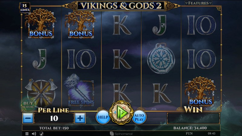 Play slots at Superior: Superior featuring the Video Slots Viking & Gods 2 15 Lines with a maximum payout of $30,000