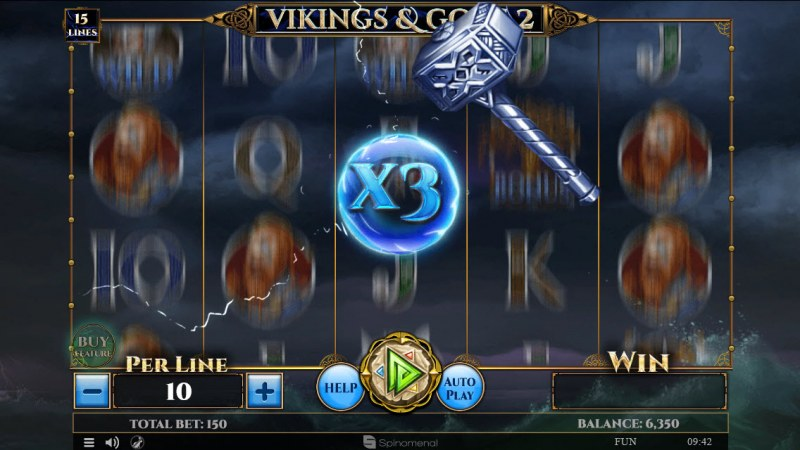 Viking & Gods 2 15 Lines :: Win Multipler randomly activates during any base game spin