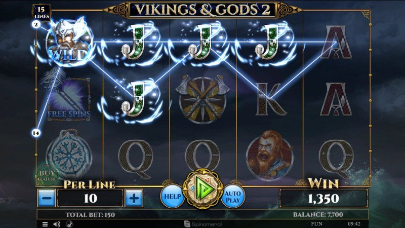Viking & Gods 2 15 Lines :: X3 win multiplier applied to winning 4 of a kind