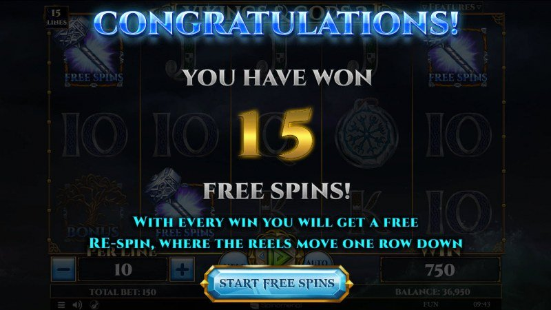 Viking & Gods 2 15 Lines :: 15 Free Spins Awarded