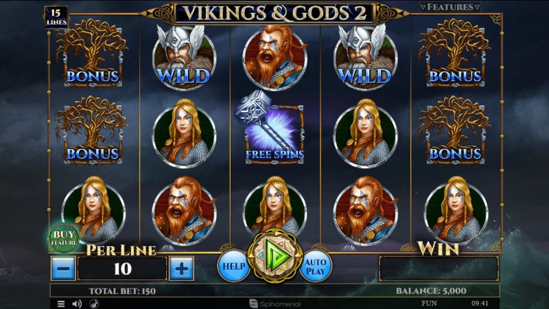 Play slots at Play 24 Bet: Play 24 Bet featuring the Video Slots Viking & Gods 2 15 Lines with a maximum payout of $30,000