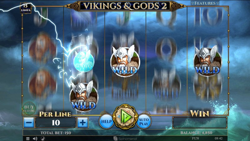 Viking & Gods 2 15 Lines :: Extra Wilds feature activates randomly during any base game spin