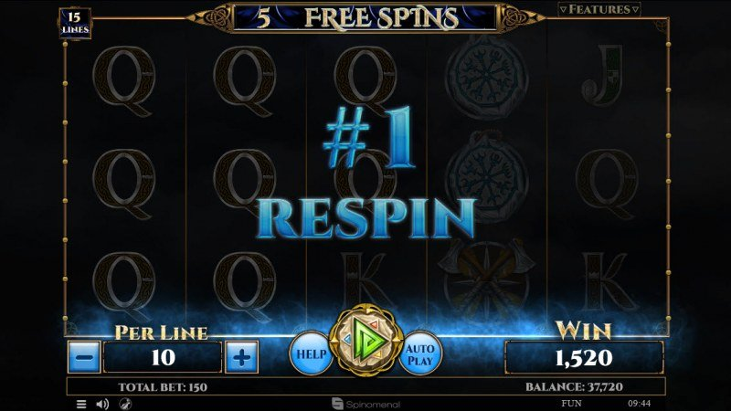 Viking & Gods 2 15 Lines :: Respin awarded after any winning combination during the free games feature