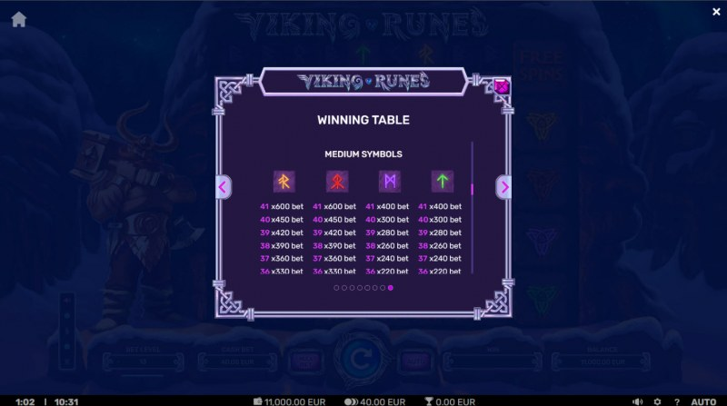 Viking Runes :: Paytable - Medium Value Symbols