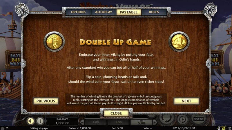 Viking Voyage :: Gamble Feature Rules