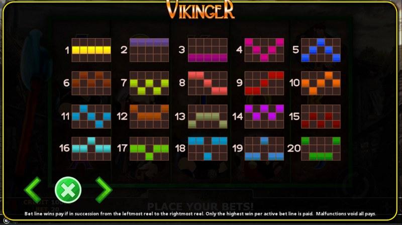 Vikinger :: Paylines 1-20