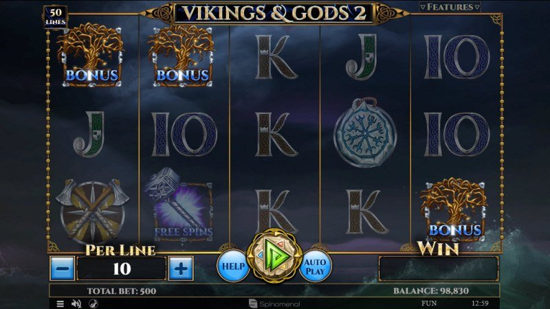 Vikings & God 2 :: Scatter symbols triggers bonus feature