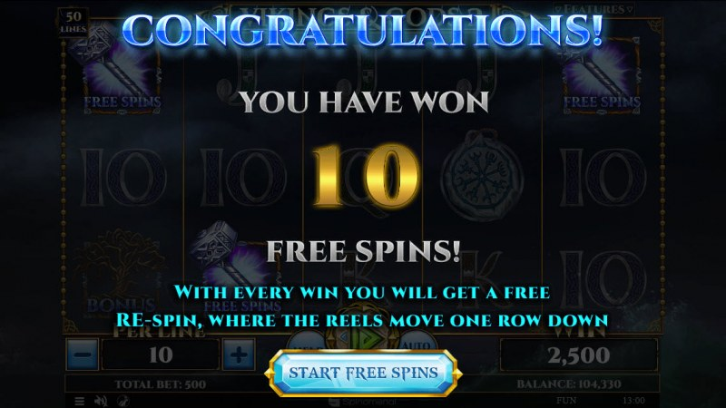 Vikings & God 2 :: 10 Free Spins Awarded