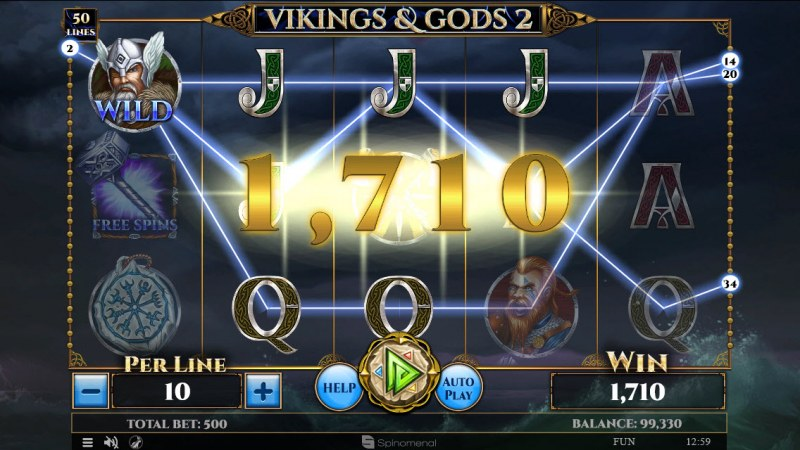 Vikings & God 2 :: Multiple winning paylines